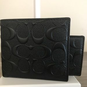 Coach Signature Embossed Black Wallet NWT